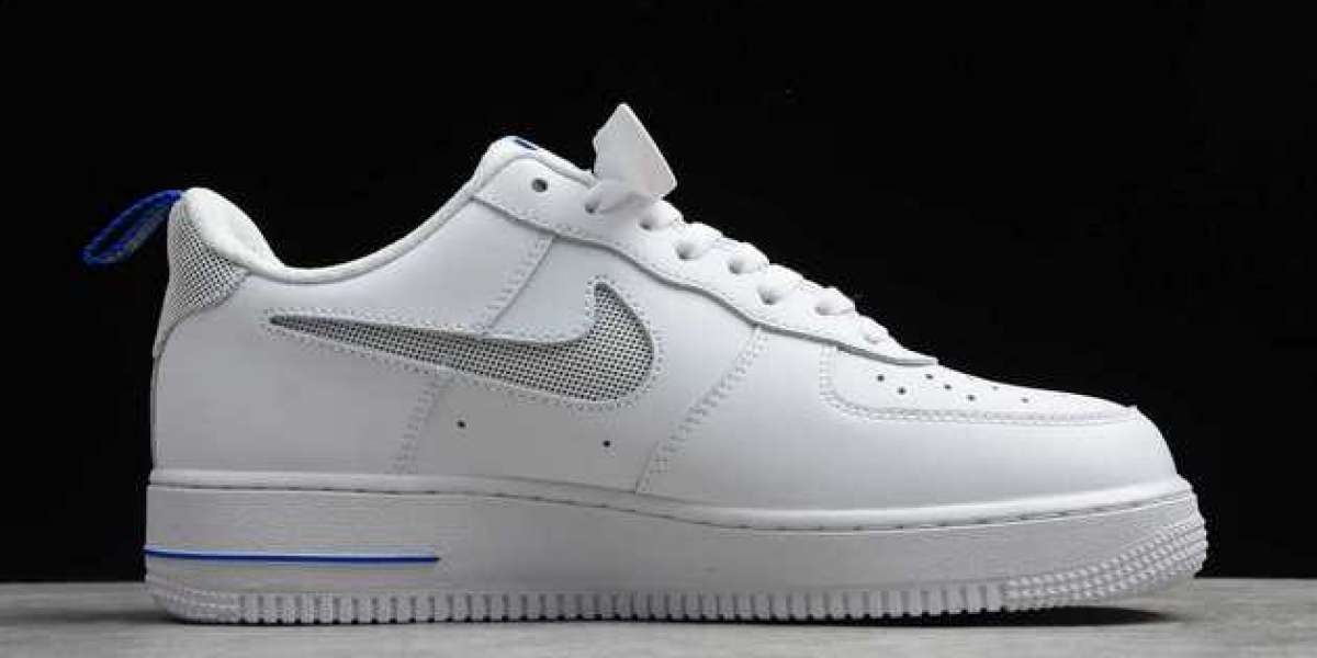 Nike Air Force 1 Low Cut Out Swoosh White/Royal Blue 2020 Newest DC1429-100